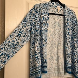 Chico's Size 3 Blue and White Cardigan